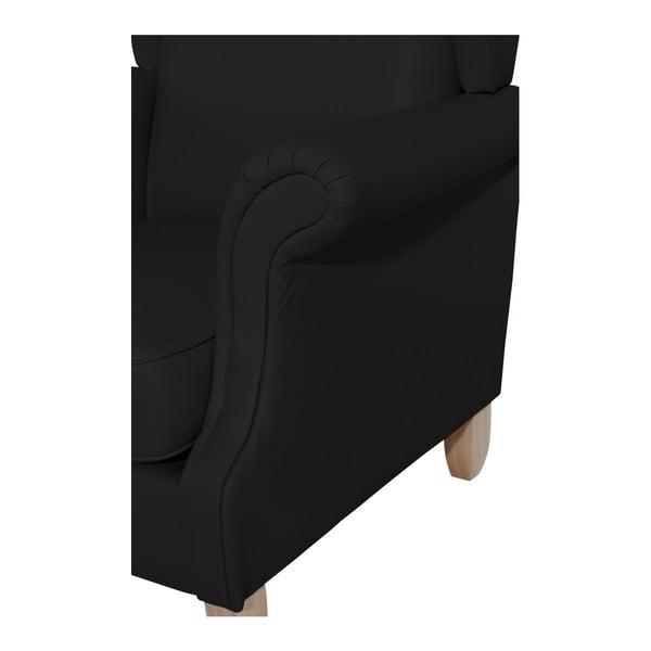 Černé křeslo ušák Max Winzer Verita Leather black