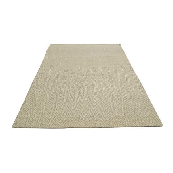 Ručně tkaný koberec Kilim Chevron White/Beige, 155x215 cm