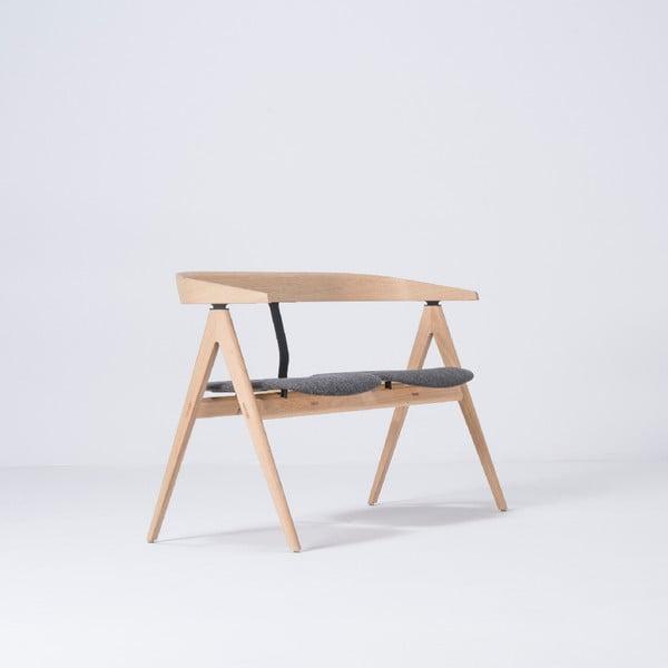 Ławka z drewna dębowego z szarym siedziskiem Gazzda Ava