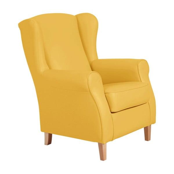 Žluté křeslo ušák Max Winzer Lorris Leather Corn