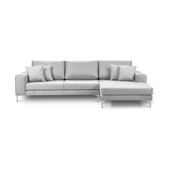Canapea pe colț cu 4 locuri Cosmopolitan Design Cartegena pe partea dreaptă gri deschis