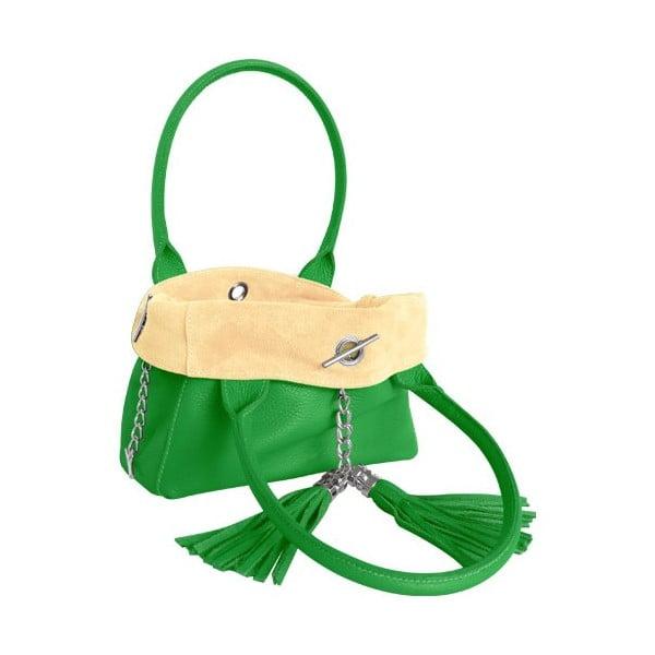 Oboustranná kožená kabelka Dolce Sonia Verde/Burro