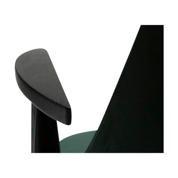 Tmavě zelené křeslo s konstrukcí z jasanového dřeva DAN-FORM Denmark Saga