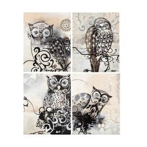 Freja Owl B&W, 28x22 cm, tetraptych