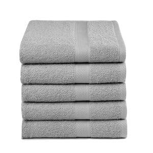 Sada 5 světle šedých ručníků Ekkelboom, 50x100 cm