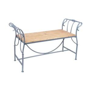 Kovová zahradní lavice s dřevěným sedátkem Ewax Wings
