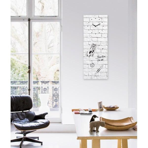 Magnetická tabule s hodinami Eurographic White Brick, 30x80cm