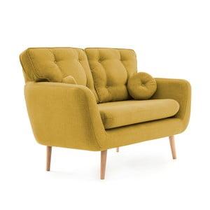 Žlutá pohovka pro dva s polštářkem Vivonita Malva