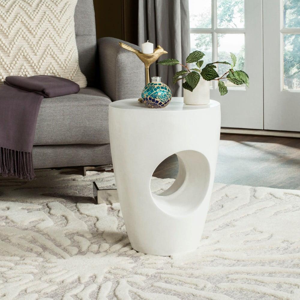 Bílý betonový zahradní stolek vhodný do exteriéru Safavieh Trent