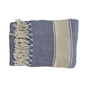 Prosop țesut manual din bumbac premium Elmas, 100 x 80 cm, albastru