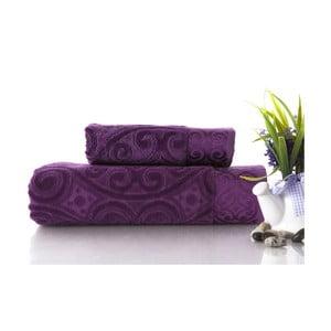 Set dvou ručníků Hanzade Purple, 70x140 a 50x90 cm