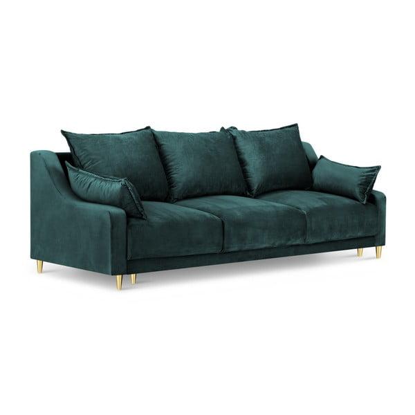 Pansy méregzöld háromszemélyes kinyitható kanapé, tárolóhellyel - Mazzini Sofas