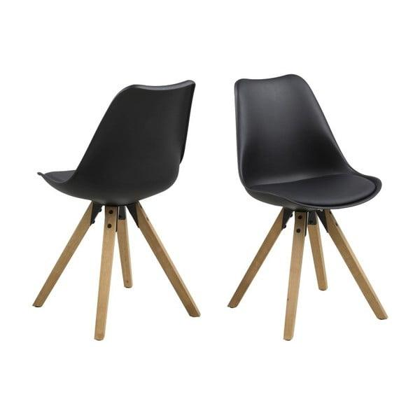 Jídelní židle Dima, černá a dřevěné nohy