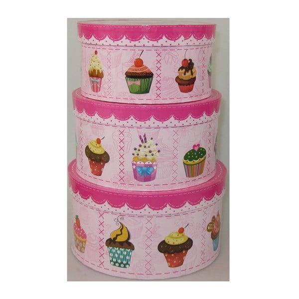 Sada 3 krabiček Cupcakes