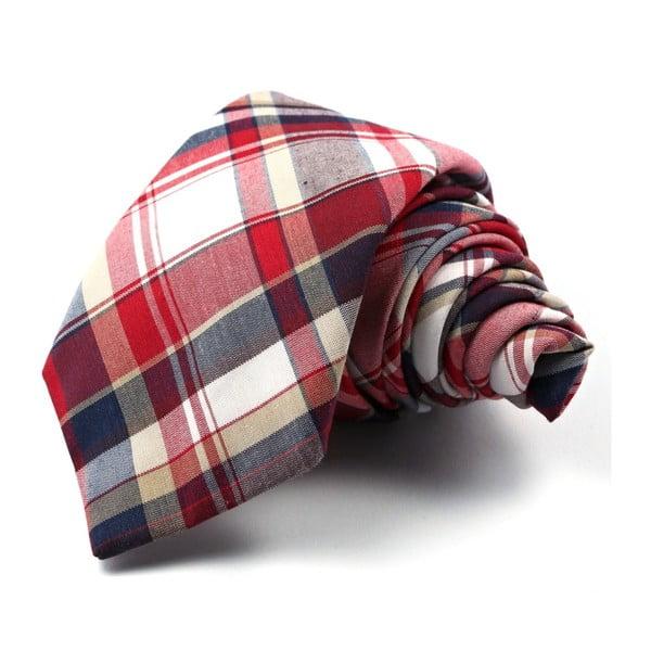 Červeno-modrá károvaná kravata