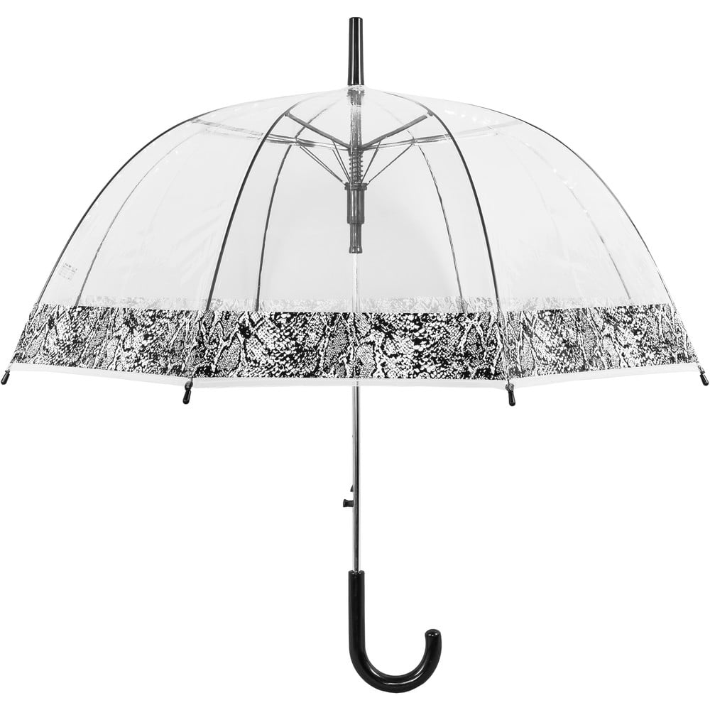 Transparentní větruodolný holový deštník sautomatickým otevíráním Ambiance Snake Skin, ⌀84cm