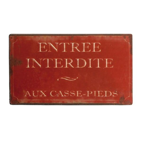 Tăbliță Antic Line Entrée Interdite Pieds, roșie