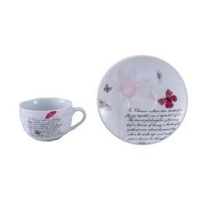 Set 2 porcelánových šálků s podšálky Bergner Butterfly