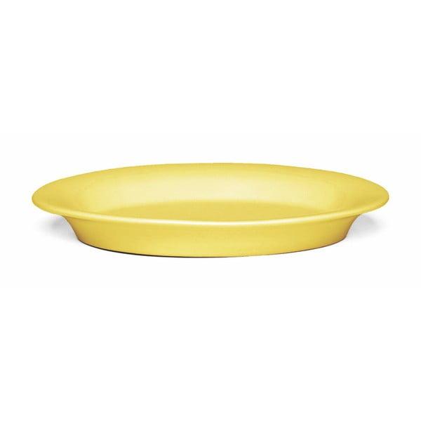 Žlutý kameninový talíř Kähler Design Ursula, 18 x 13 cm
