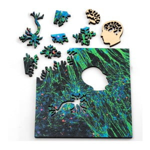 Puzzle Green Neural Network, 12,7x12,7 cm
