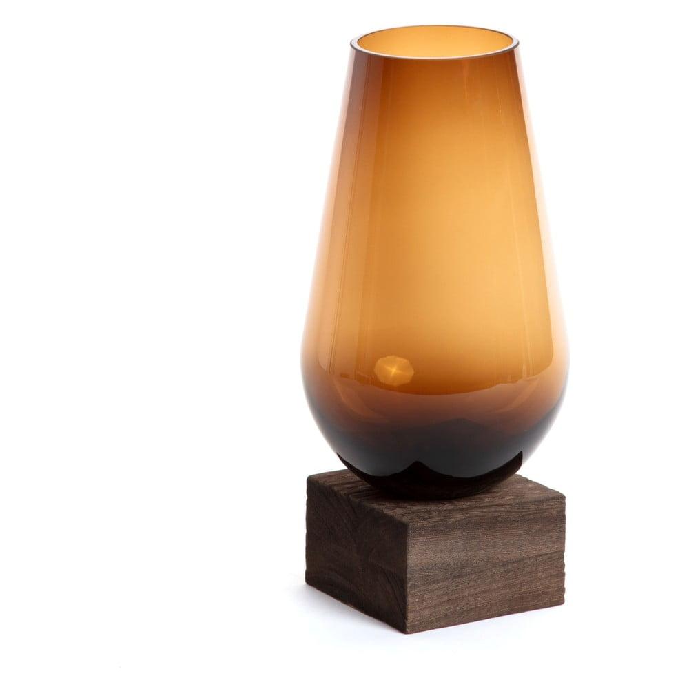 Hnědá skleněná váza La Forma Salong, hloubka 30 cm