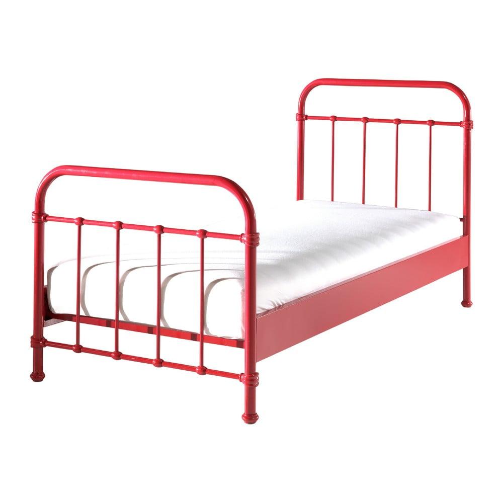 Červená kovová dětská postel Vipack New York, 90x200cm Vipack