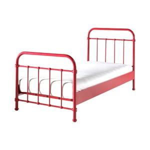 Červená kovová dětská postel Vipack New York, 90x200cm