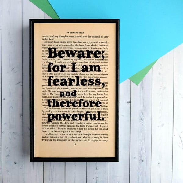 Plakát v dřevěném rámu Frankenstein Fearless
