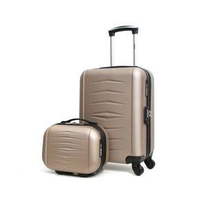 Set geamantan cu roţi şi valiză INFINITIF, bej