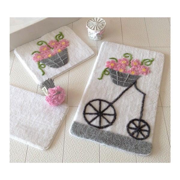 Sada tří koupelnových předložek s motivem květinového vozíku Knit Knot