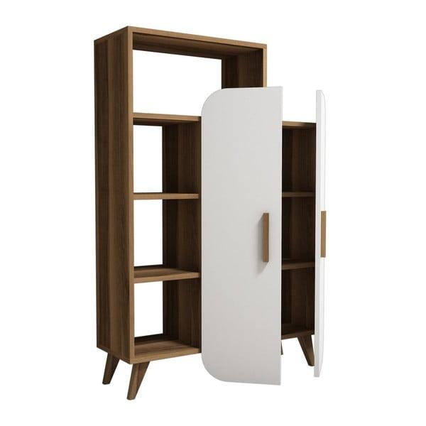 Garetto Form fehér szekrény polcokkal, diófa dekor