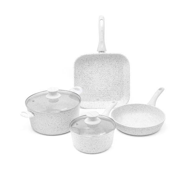 4dílný set nádobí s poklicemi a úchyty Bisetti Stonewhite Francesca