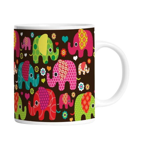 Keramický hrnek Elephants in Black, 330 ml