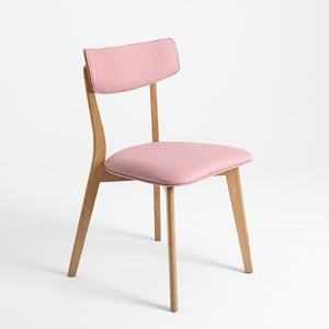 Růžová židle s dubovými nohami Tone Soft