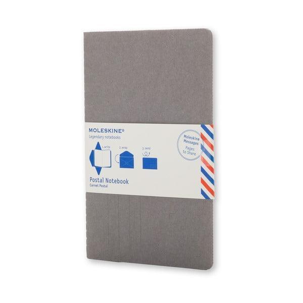 Šedý zápisník v obálkové vazbě Moleskine Postal