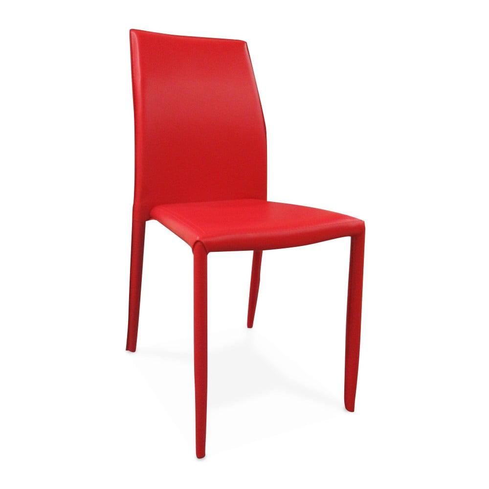 Červená jídelní židle s potahem z eko kůže Evergreen House Faux