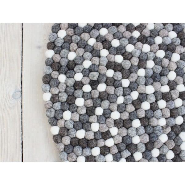 Sivobiely guľôčkový vlnený koberec Wooldot Ball rugs, ⌀ 90 cm