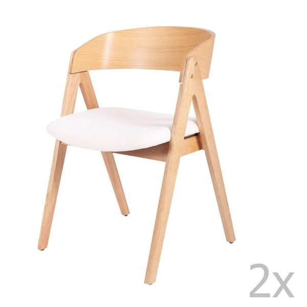 Sada 2 jídelních židlí z kaučukovníkového dřeva s bílým podsedákem sømcasa Rina