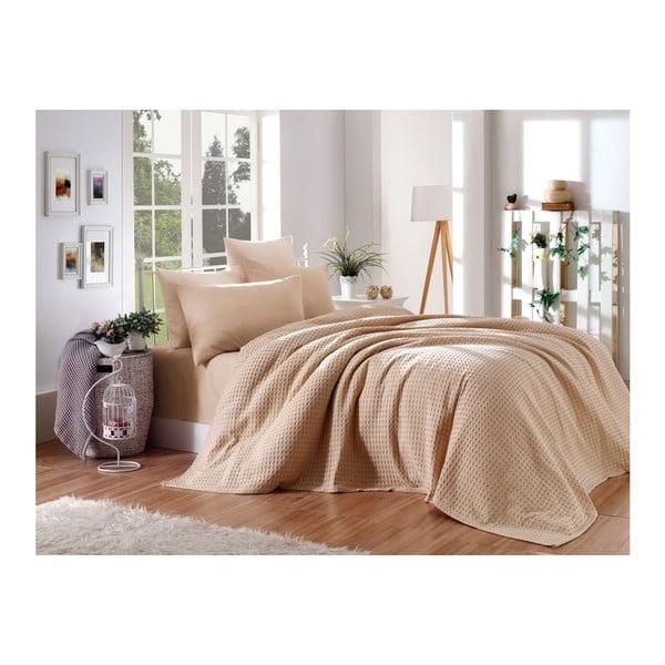 Brązowy jednoosobowy komplet bawełniany do sypialni, 220x240 cm