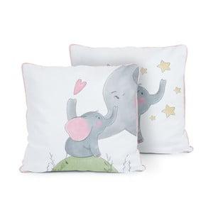 Oboustranný polštář Tanuki Love Elephants, 50x50cm