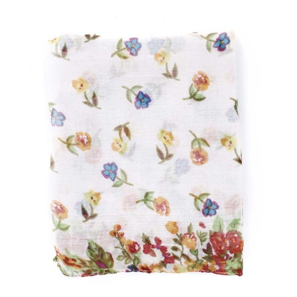 Šátek Flowers White