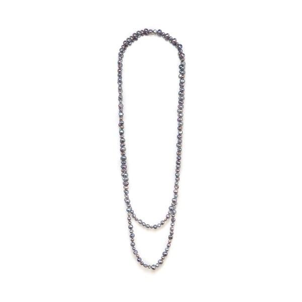 Šedý perlový náhrdelník GemSeller Polygala
