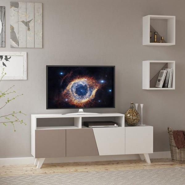 Set šedého TV stolku a 2 nástěnných poliček Homitis Cafune