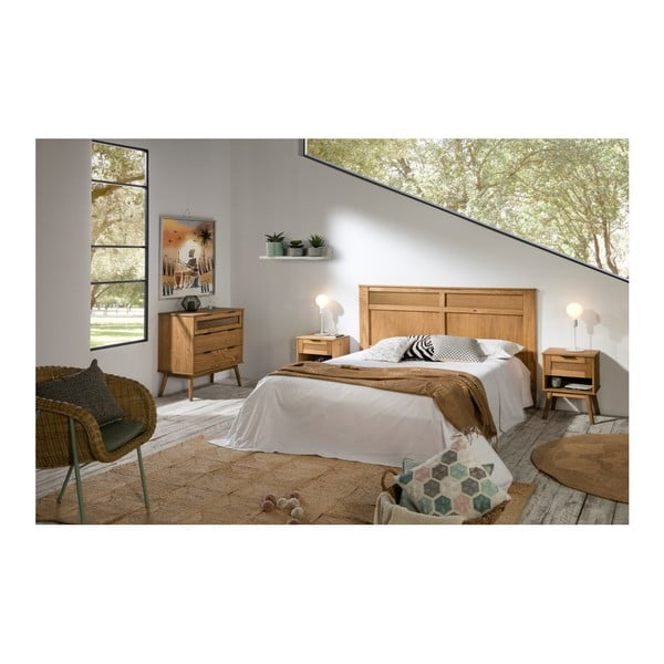 Hnědé čelo postele z borovicového dřeva Marckeric Asmara
