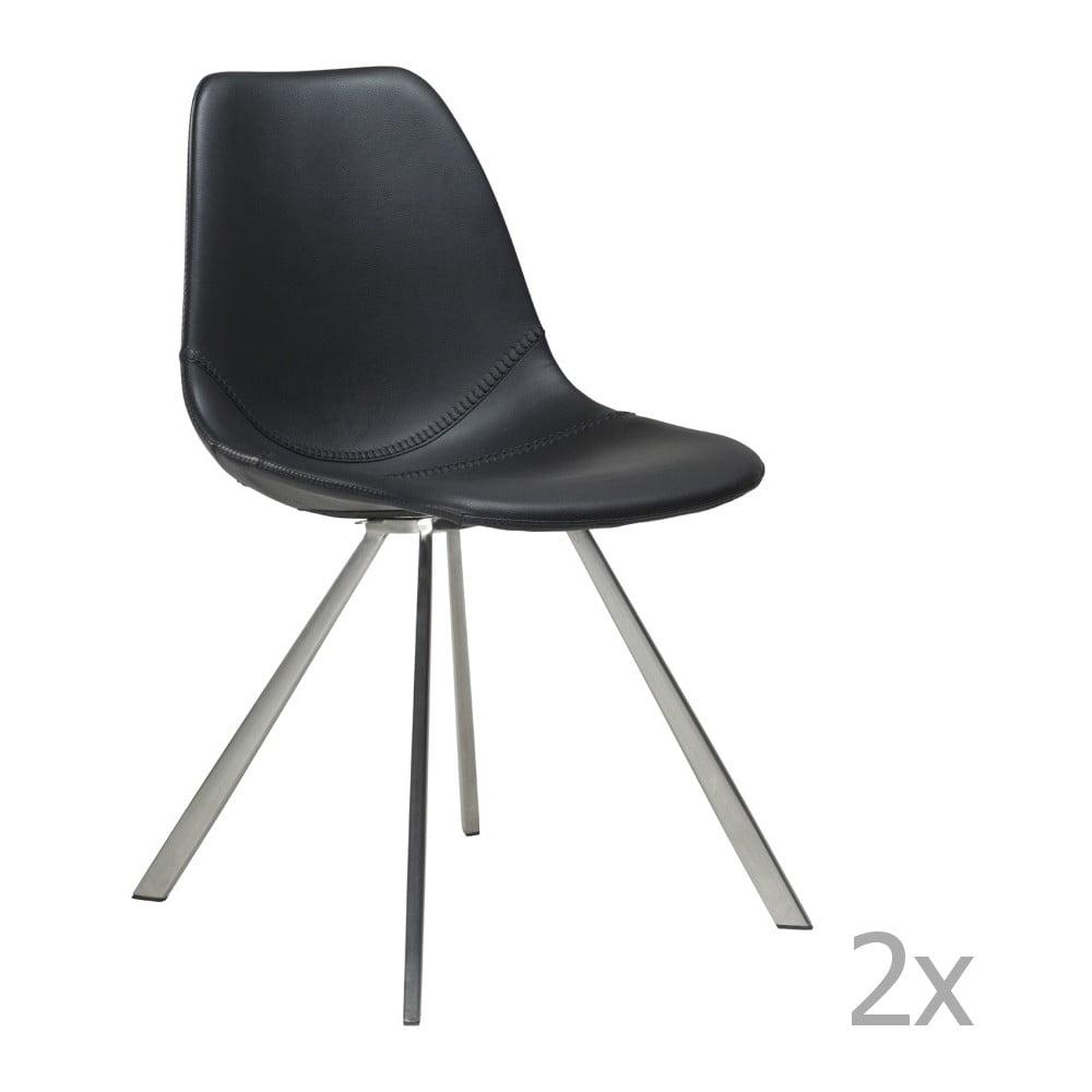 Sada 2 černých  jídelních židlí s ocelovým podnožím DAN– FORM Pitch