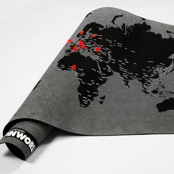 Mini hartă a lumii de perete Palomar Pin World, 77 x 48 cm, negru