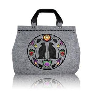 Plstěná vyšívaná kufříková kabelka do ruky Folk kočky