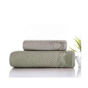 Sada 2 ručníků Acustic Water Green, 50x90 cm a 70x140 cm