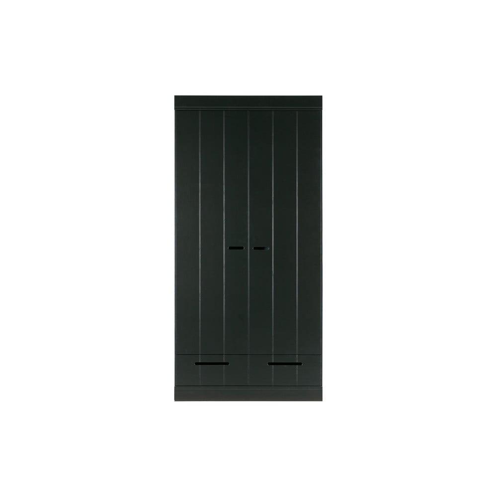 Černá šatní skříň s konstrukcí z borovicového dřeva WOOOD Connect,šířka94cm