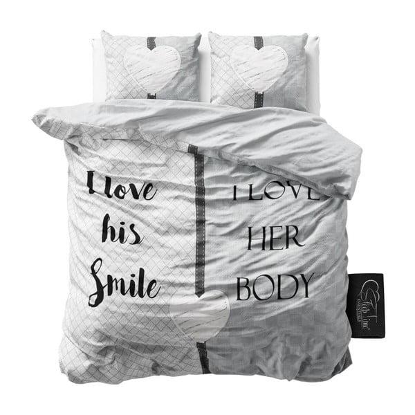 Šedé povlečení z mikroperkálu na dvoulůžko Sleeptime What Do You Love,160x200cm